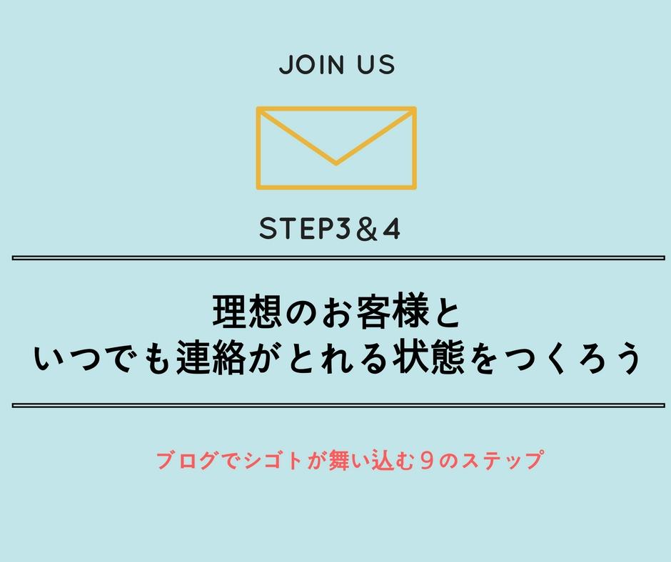 【ブログ集客ステップ3・4】理想のお客様といつでも連絡がとれる状態をつくろう